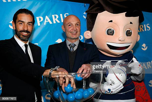 World Champions 1998 soccer Robert Pires and Franck Leboeuf attend the draw for the 1998 tournament Generation at the Paris City hall on December 11...