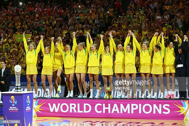 World champions Australia celebrate winning the 2015 Netball World Cup Gold Medal match between Australia and New Zealand at Allphones Arena on...