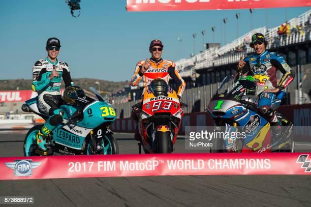 World champions Joan Mir Leopard Racing Honda Marc Marquez Repsol Honda Team Honda Franco Morbidelli Eg 00 Marc Vds Kalex during the race day of the...