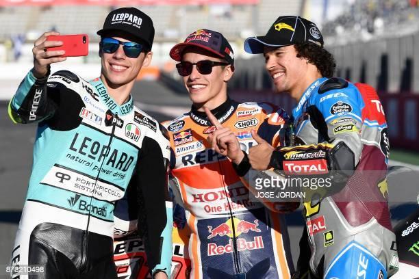 World Champions Leopard Racing Spanish rider from Spain Joan Mir Repsol Honda Team's Spanish rider Marc Marquez and EG 00 Marc VDS Italian rider...