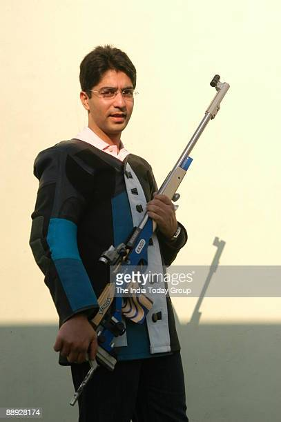 World Championship gold medal winning shooter Abhinav Bindra at his private shooting range at his home near Chandigarh