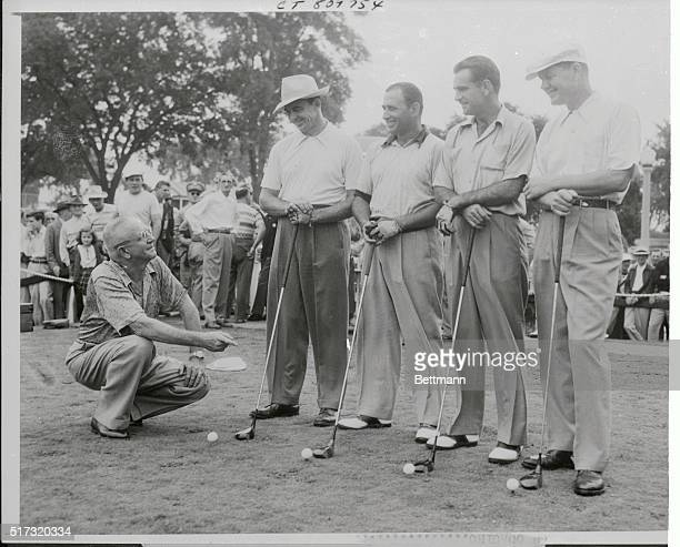 World Championship golf promoter George S May gives a final word of advice to tourneyists Sam Snead Herman Barron Lloyd Mangrum and Byron Nelson as...