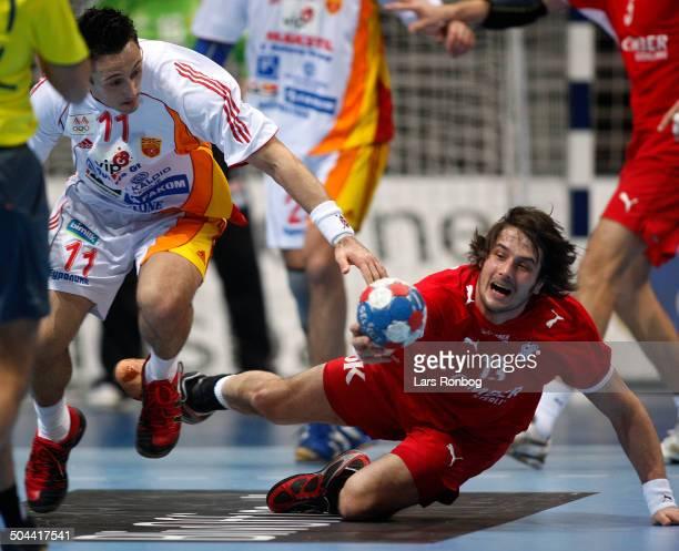 World Championships Handball in Croatia Vladimir Temelkov Makedonien / Macedonia Bo Spellerberg Danmark © Lars Rønbøg / Frontzonesport