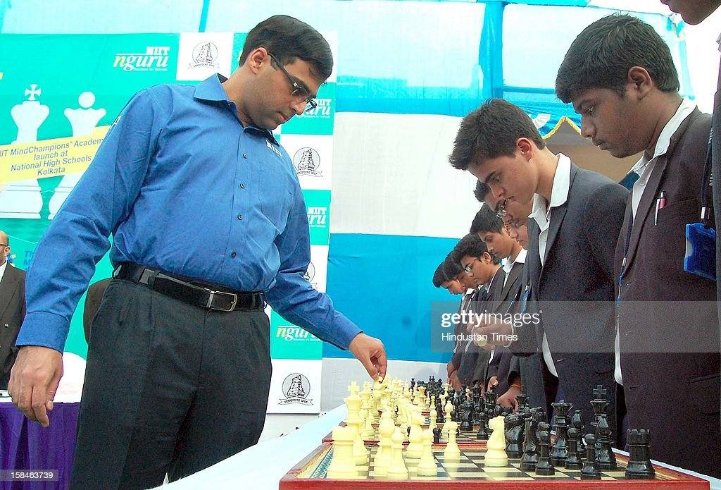 World Chess Champion Viswanathan Anand during launch of Mind Champions Academy at National High school Boys on December 17, 2012 in Kolkata, India.