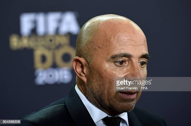 World Coach of the Year for Men's Football nominee and Chile Coach Jorge Sampaoli of Argentina is interviewed after the FIFA Ballon d'Or Gala 2015 at...