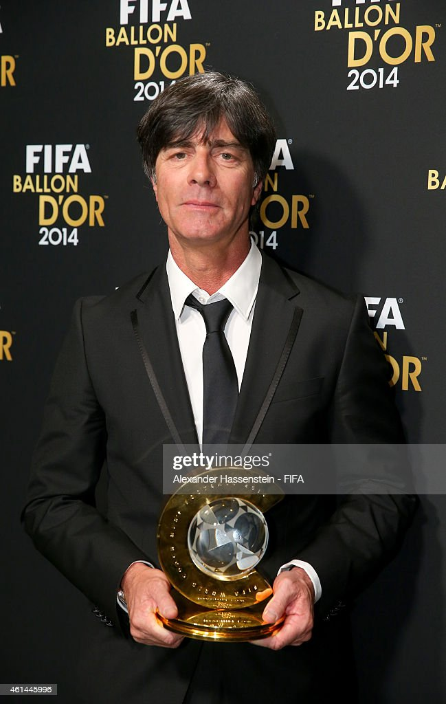 World Coach of the Year for Men's Football winner <a gi-track='captionPersonalityLinkClicked' href=/galleries/search?phrase=Joachim+Loew&family=editorial&specificpeople=215315 ng-click='$event.stopPropagation()'>Joachim Loew</a> of Germany poses with his award during the FIFA Ballon d'Or Gala 2014 at the Kongresshaus on January 12, 2015 in Zurich, Switzerland.