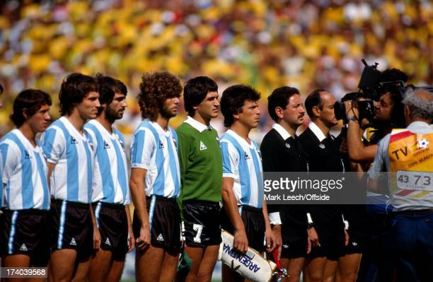 World Cup 1982 Argentina v Brazil The Argentina team line up for the TV Camera and for the national anthems
