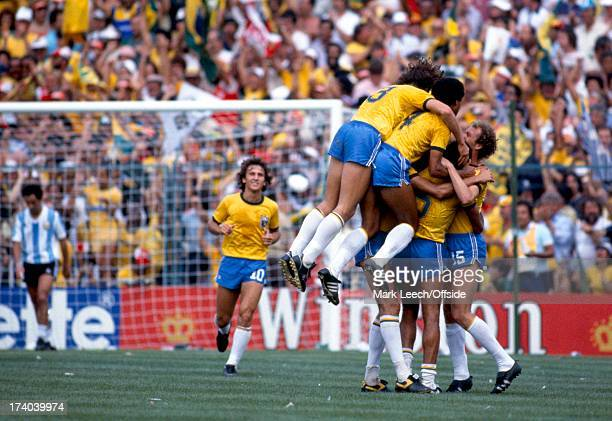 World Cup 1982 Spain Argentina v Brazil The Brazilian players celebrate their goal