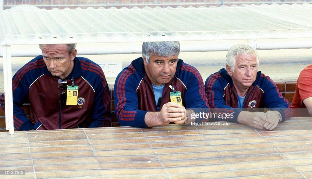 World Cup 1982 Spain USSR v Poland Polish coach Antoni Piechniczek sits in the dugout woth his coaching team