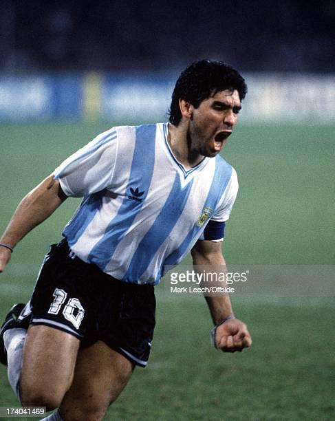 World Cup 1990 Italy v Argentina Diego Maradona celebrates against Italy