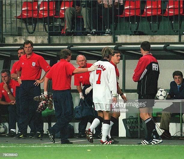 World Cup 1998 Finals St Etienne France 30th June England 2 v Argentina 2 England's David Beckham walks past coach Glenn Hoddle as he leaves the...