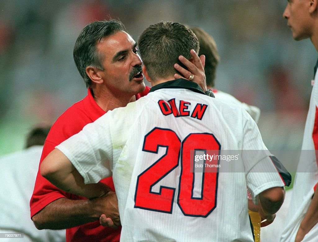 World Cup 1998 Finals St Etienne France 30th June England 2 v Argentina 2 England's Michael Owen is consoled by assistant coach John Gorman after the...