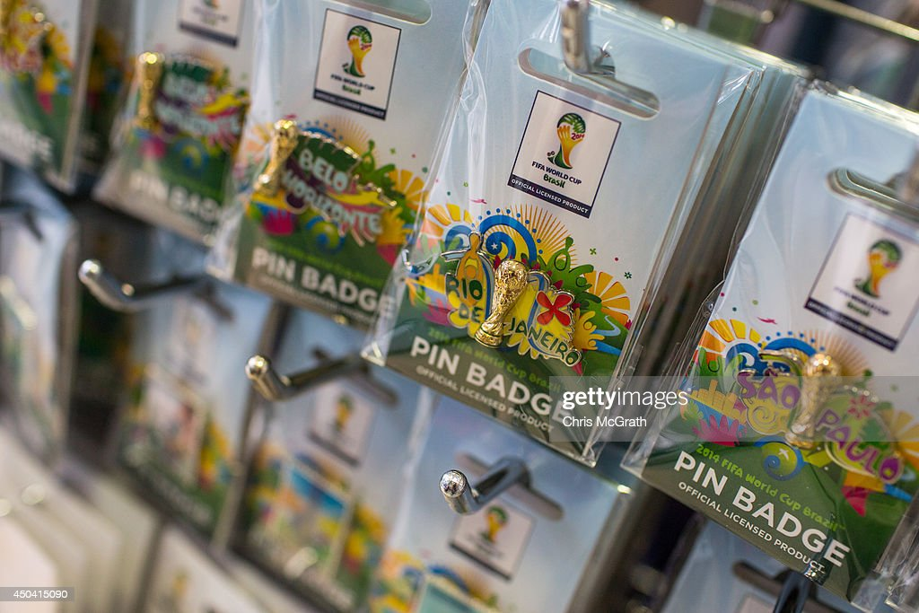World Cup 2014 merchandise is seen on display at a football store on June 11, 2014 in Tokyo, Japan. The World Cup 2014 in Brazil will begin on June 12th with the first match between Brazil and Croatia.