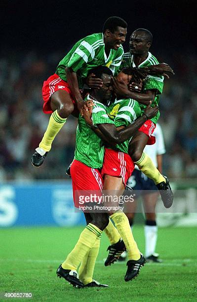 World Cup Cameroon players celebrate © INPHO / Billy Stickland