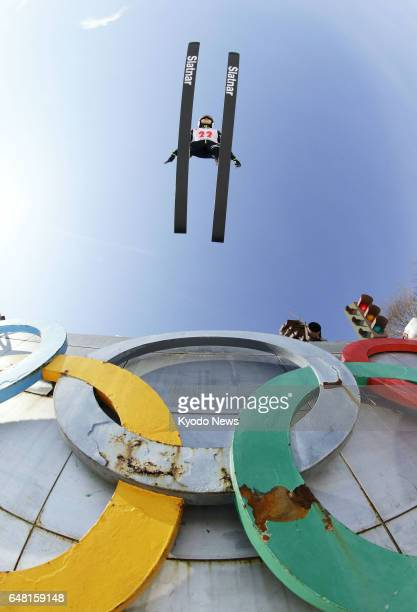 World Cup champion Sara Takanashi jumps on March 5 during the women's large hill competition at the International Miyasama Ski Games in the northern...