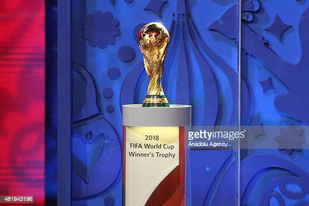 World Cup during the preliminary draw for the 2018 World Cup qualifiers at the Konstantin Palace in Saint Petersburg on July 25 2015