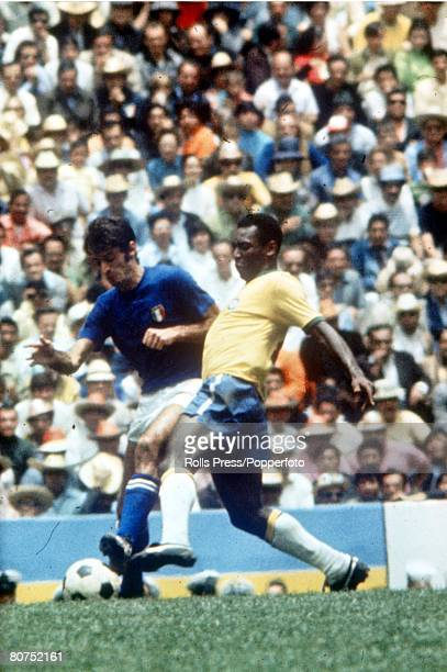 World Cup Final 1970 Mexico City Mexico 21st June Brazil 4 v Italy 1 Brazil's Pele battles for the ball with an Italian defender