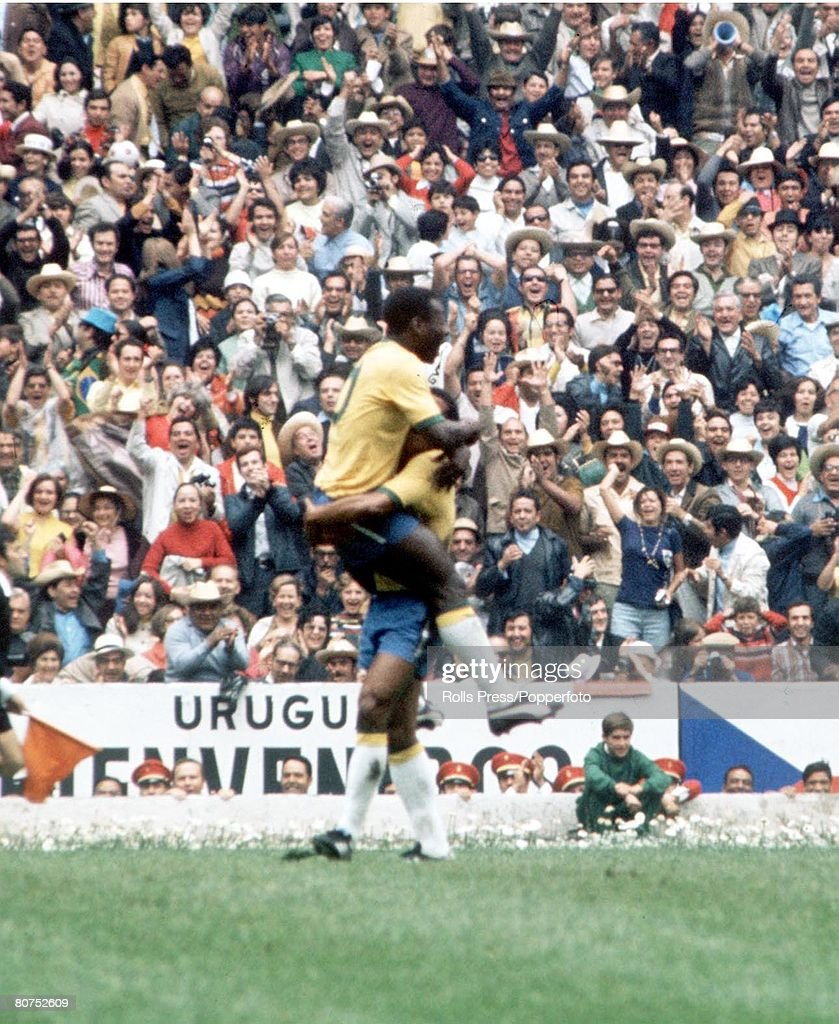 World Cup Final 1970, Mexico City, Mexico, 21st June, 1970, Brazil 4 v Italy 1, Brazil's Pele celebrates after scoring the game's opening goal in the ninteenth minutepast Italian goalkeeper Enrico Albertosi