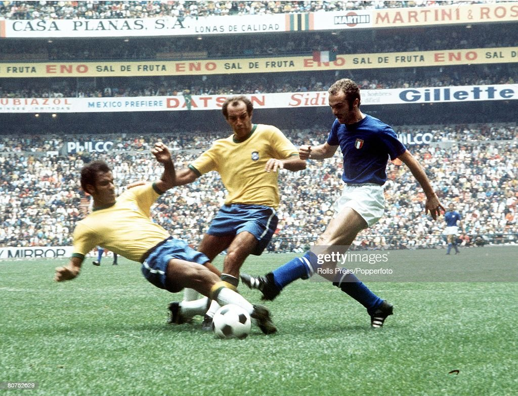 World Cup Final 1970, Mexico City, Mexico, 21st June, 1970, Brazil 4 v Italy 1, Brazilian defenders Brito (L) and Gerson tackle Italy's Alessandro Mazzola in the World Cup Final