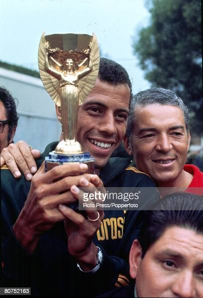World Cup Final 1970 Mexico City Mexico Brazilian Captain Carlos Alberto holds aloft the Jules Rimet Trophy following his side's win over Italy in...