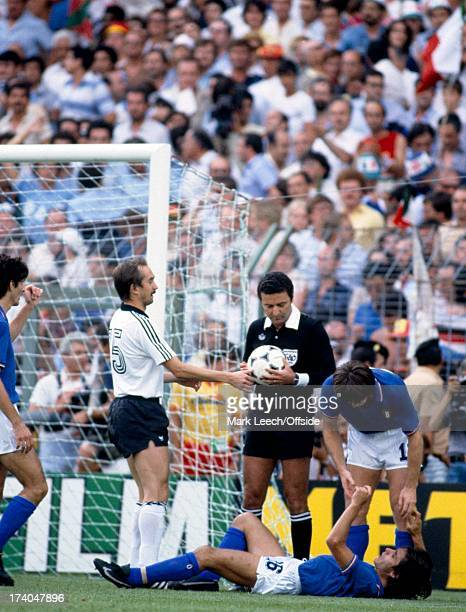 World Cup Final 1982 Italy v West Germany Ulrich Stielke takes the ball off the referee ready for the penalty kick