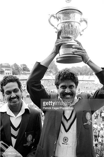 World Cup Final 1983 Kapil Dev with cup and Man of the Match Mohinder Amarnath 6338725