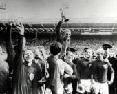 World Cup Final 30th July Wembley Stadium England England 4 v West Germany 2 Englands captain Bobby Moore holds aloft the Jules Rimet World Cup...