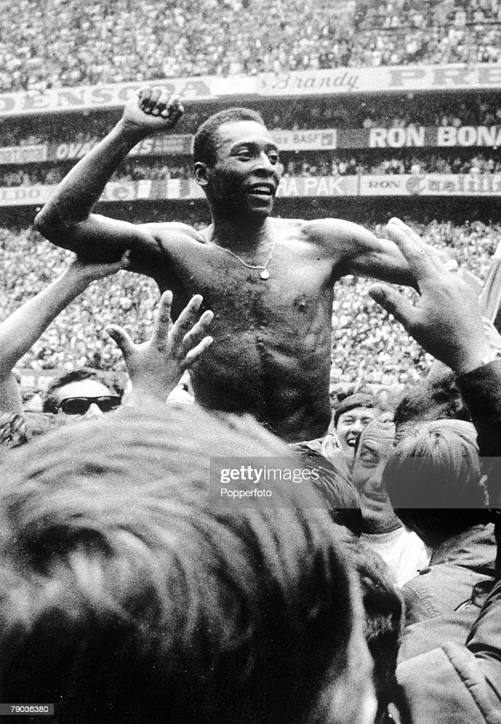 World Cup Final, Azteca Stadium, Mexico, 21st June, 1970, Brazil 4 v Italy 1, Brazil's Pele is ecstatic at the end of the match as he is stripped and mobbed by jubilant fans