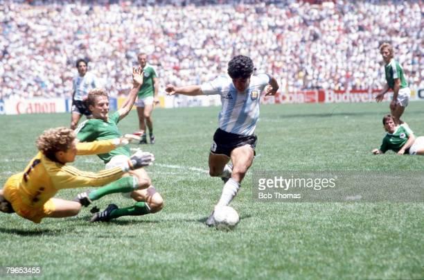 World Cup Final Azteca Stadium Mexico 29th June Argentina 3 v West Germany 2 Argentina's Diego Maradona goes around West Germany's goalkeeper Harald...