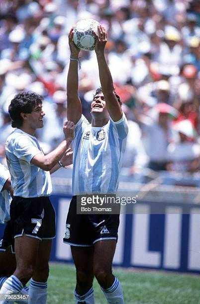 World Cup Final Azteca Stadium Mexico 29th June Argentina 3 v West Germany 2 Argentina's Jose Luis Brown holds the ball aloft after scoring his goal