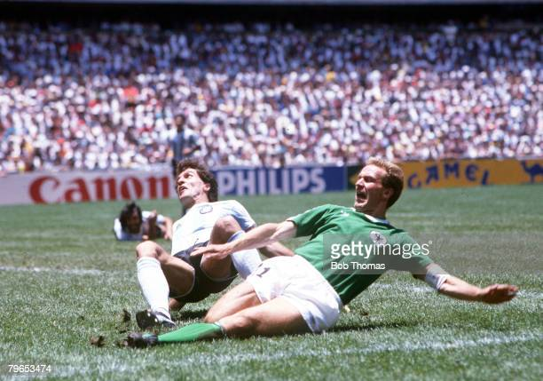 World Cup Final Azteca Stadium Mexico 29th June Argentina 3 v West Germany 2 Argentina's Oscar Ruggeri clashes with West Germany's Karl Heinz...