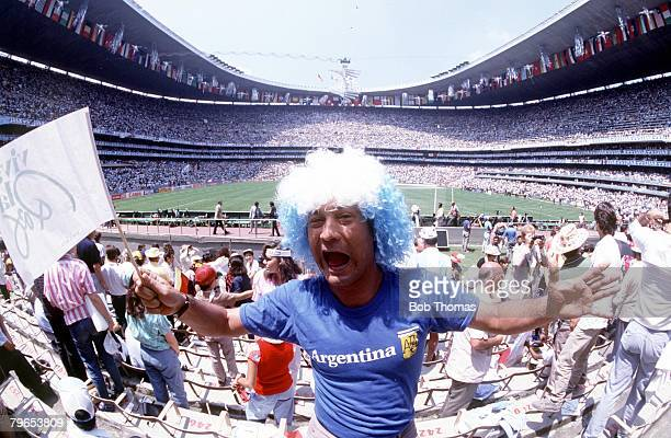 World Cup Final Azteca Stadium Mexico 29th June Argentina 3 v West Germany 2 A colourful Argentine fan cheers on his team