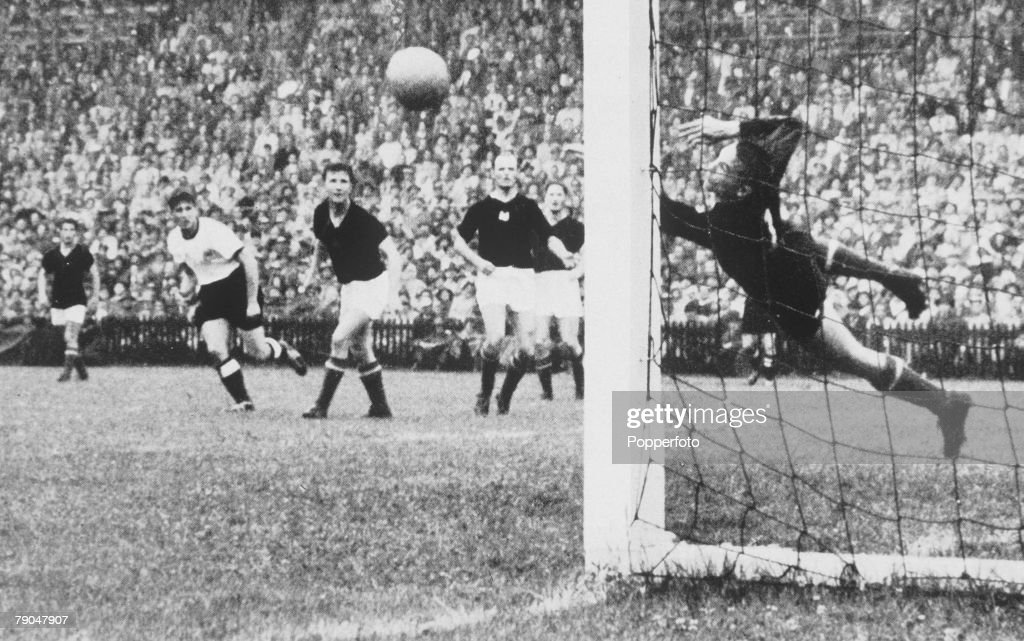 World Cup Final, 1954, Berne, Switzerland, 4th July, 1954, West Germany 3 v Hungary 2, Hungary's goalkeeper Gyula Grosics dives the ball during a s West German attack