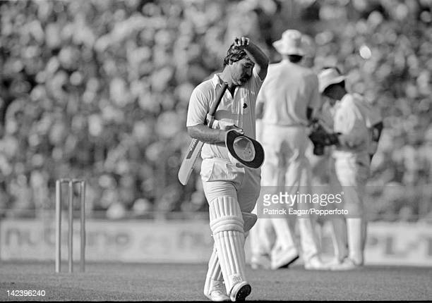World Cup Final England v Australia at Calcutta 1987 Mike Gatting after being out caught off his reverse sweep Gatting c Dyer b Border 41 64641_28A