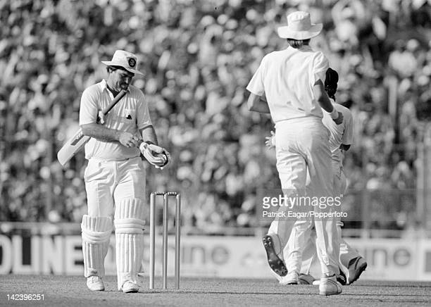 World Cup Final England v Australia at Calcutta 1987 Mike Gatting after being out caught off his reverse sweep 64641_26A
