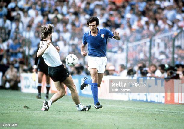 World Cup Final Madrid Spain 11th July Italy 3 v West Germany 1 Italy's Gaetano Scirea is tackled by West Germany's Manny Kaltz