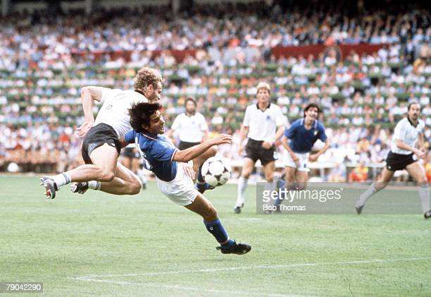 World Cup Final Madrid Spain 11th July Italy 3 v West Germany 1 Italy's Bruno Conti is fouled by West Germany's Hans Peter Briegel to earn a penalty