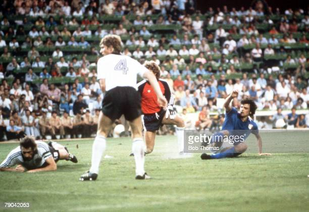 World Cup Final Madrid Spain 11th July Italy 3 v West Germany 1 Italy's Alessandro Altobelli scores the third goal past West German goalkeeper Harald...