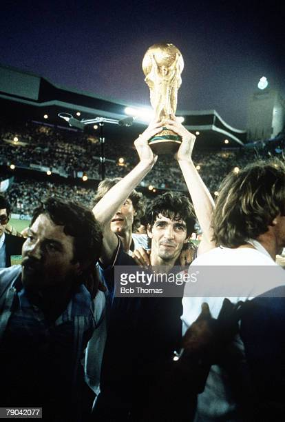 World Cup Final Madrid Spain 11th July Italy 3 v West Germany 1 Italy's Paolo Rossi proudly holds aloft the World Cup trophy after his team's win