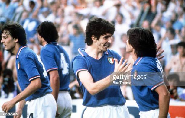World Cup Final Madrid Spain 11th July Italy 3 v West Germany 1 Italy's Paolo Rossi celebrates with teammate Bruno Conti after scoring the first goal