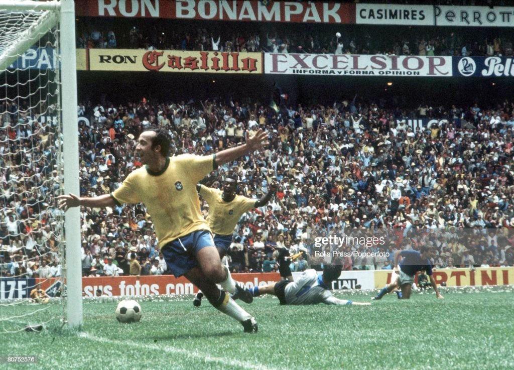 World Cup Final, Mexico City, Mexico, 21st June, 1970, Brazil 4 v Italy 1, Brazil's Tostao and Pele celebrate a Brazilian goal in the World Cup Final