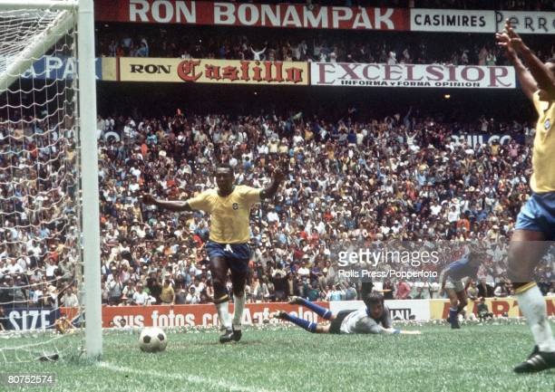 World Cup Final Mexico City Mexico 21st June Brazil 4 v Italy 1 Pele raises his arms as he celebrates his captain Carlos Alberto's fourth goal with...