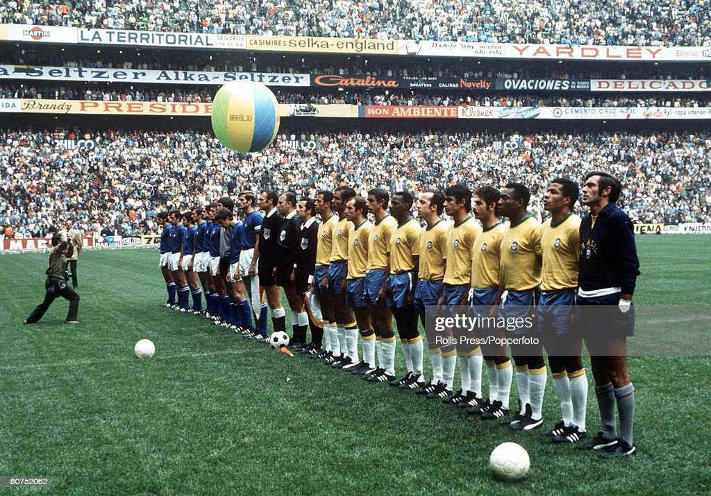 World Cup Final, Mexico City, Mexico, 21st June, 1970, Brazil 4 v Italy 1, The two teams line up before the match