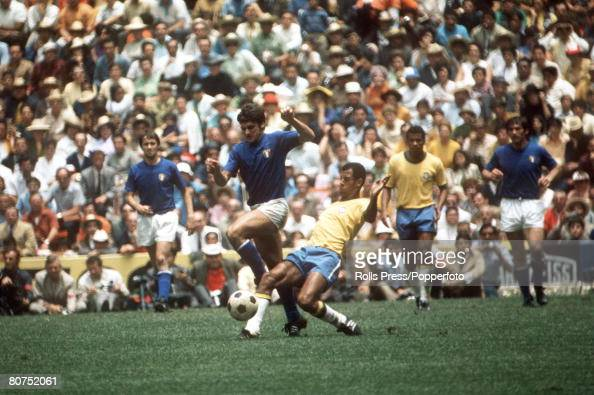 World Cup Final Mexico City Mexico 21st June Brazil 4 v Italy 1Brazil's Carlos Alberto in action against Italian players in the World Cup Final