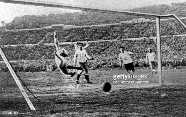 World cup Final Montevideo Uruguay Uruguay v Argentina Argentine goalkeeper Juan Botasso dives in vain in an attempt to stop Uruguay's fourth goal of...
