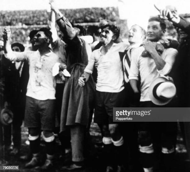 World cup Final Montevideo Uruguay Uruguay v Argentina Members of the Uruguayan team celebrate after defeating rivals Argentina in the first ever...