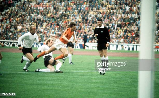 World Cup Final Munich West Germany 7th July West Germany 2 v Holland 1 Holland's Johan Cruyff is tripped by West Germany's Uli Hoeness in the first...