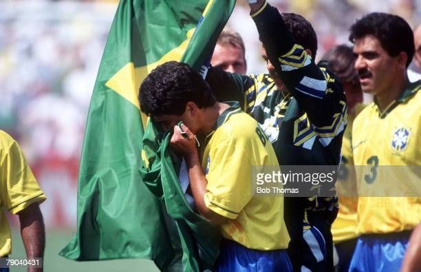World Cup Final Pasadena USA 17th July Brazil 0 v Italy 0 Brazilian player Bebeto kisses his country's flag after they won the World Cup