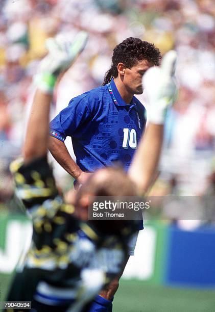 World Cup Final Pasadena USA 17th July Brazil 0 v Italy 0 Brazilian goalkeeper Taffarel is ecstatic as Italy's Roberto Baggio looks at the ground...