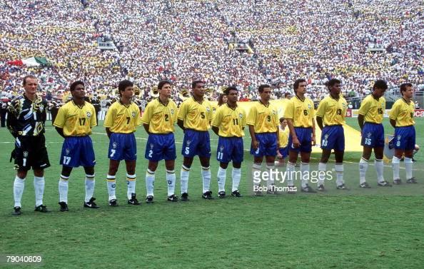 World Cup Final Pasadena USA 17th July Brazil 0 v Italy 0 Brazilian team line up before the match